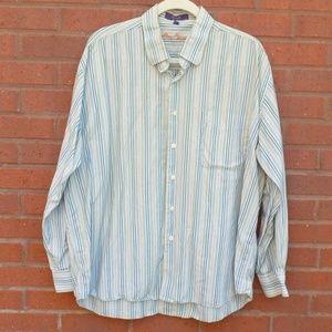 Alan Flusser BLue Striped Button Down Shirt XL